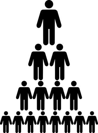 corporate hierarchy: Grafico organizzativa gerarchia aziendale di una societ� di persone di simbolo