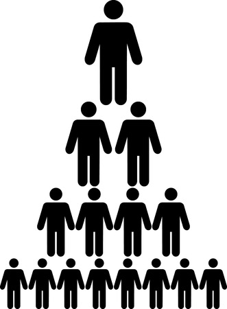 corporate hierarchy: Organizational corporate hierarchy chart of a company of symbol people