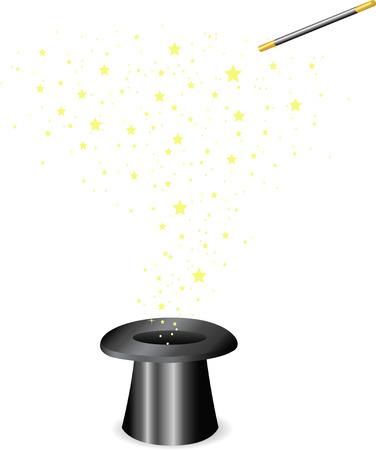 a legend of magic: Vector - Magic wand and Hat Illustration