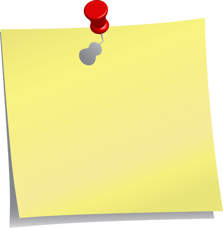 yellow note and red push pin 일러스트