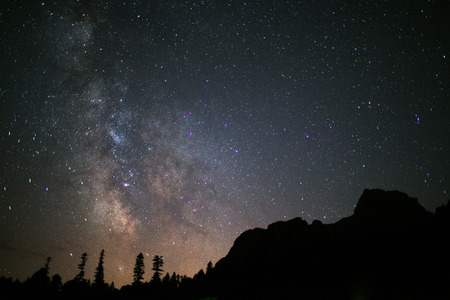 gazing: night sky wih milkyway  in mountain