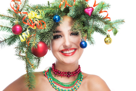 christmas woman: christmas happy woman over white background Stock Photo