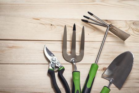 herramientas grupo de jardín en el fondo de madera