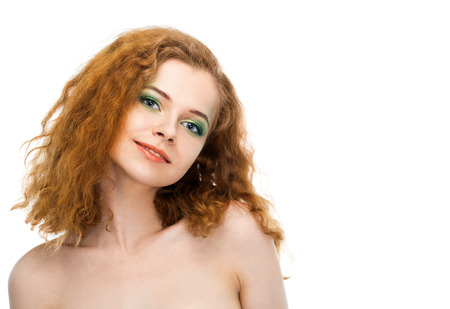 young woman face: beauty young woman face on white background