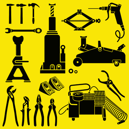 jack hammer: Car Repair and Maintenance Tools. Floor Jack, bottle-shaped hydraulic jack, Jack Stand, screw jack and other tools. Must-have Car Tools. Isolated background.