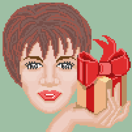 saleslady: Pixel art style with happy woman and gift. Illustration