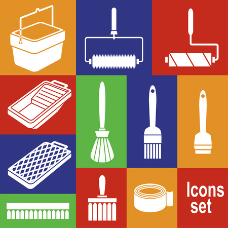 decorator: Icons of tools for painting works