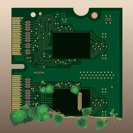 Memoria ad accesso casuale. Concetti ecologici. Circuito verde, vettore background tecnologico e l'ecologia.