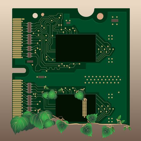 technological evolution: Random Access Memory. Ecological concepts. Green circuit board, technological and ecology vector background. Illustration