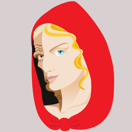 Witch. Sibyl. Two-faced woman. Fairy tale. Isolated background.