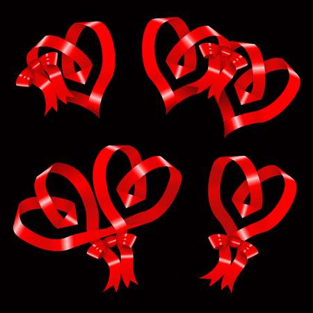 ardor: Heart of ribbon set of vector symbols.