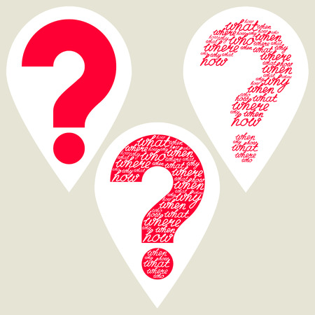 know how: Question marks set. Hand drawn question mark made of question words. Carved out question mark. Red question mark. Help symbol. Isolated background. Illustration