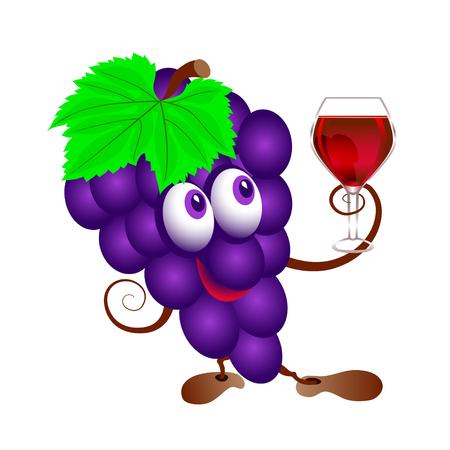 Druiven en wijnglas. Grappige cartoon bos van sappige paarse druif fruit karakter met een glas wijn. Geïsoleerd.