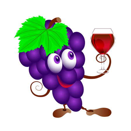 Grapes and  wineglass. Funny cartoon bunch of juicy purple grape fruit character with  wine glass. Isolated. Çizim