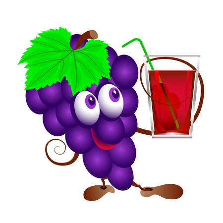 purple grapes: Grapes and  glass of juice. Funny cartoon bunch of juicy purple grape fruit character with  glass of juice. Isolated.