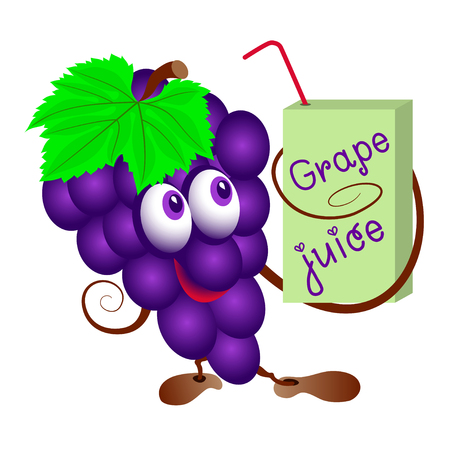 purple grapes: Grapes and   pack of juice. Funny cartoon bunch of juicy purple grape fruit character with  pack of juice. Isolated. Illustration