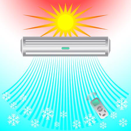 Aria condizionata, brezza soffia freddo. Modello astratto banner design di business (ventilazione e condizionamento) dell'aria.