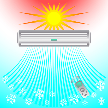 Air conditioning, cooling breeze blows cold. Abstract business design banner template ( ventilation and conditioning system) air.