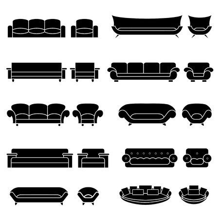 armchairs: Icons set of furniture. Icons set for living room illustration. A set of sofas and armchairs on the isolated background.