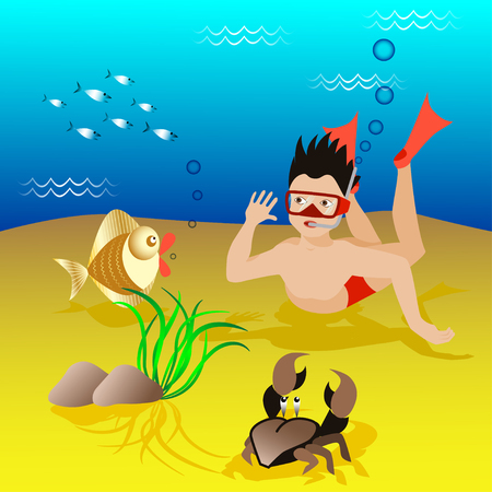 gold fish: Cartoon boy dives  in a mask and flippers under the water. Funny cartoon crab and gold fish. School of fish. Vector illustration. Illustration