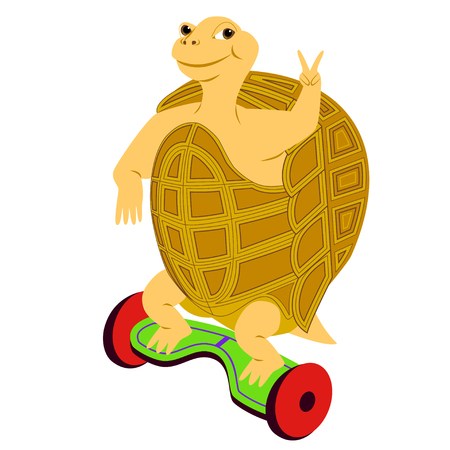 Cartoon turtle riding on the modern self-balancing electric scooter and gesturing peace sign. Isolated background.