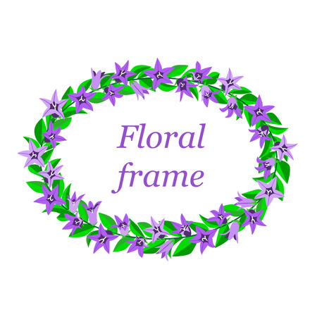 Frame with bluebells. Card design for greeting or invitation. Isolated background. Illustration