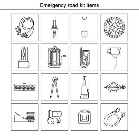 electric torch: Emergency road kit items. Flat line icons set. Auto mechanic tools. Isolated background. Illustration