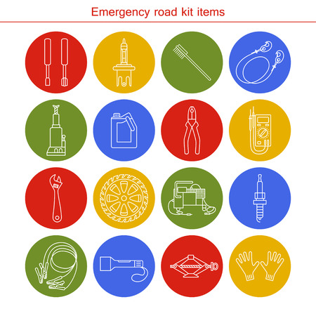windshield wiper: Emergency road kit items. Flat line icons set. Auto mechanic tools. Isolated background. Illustration