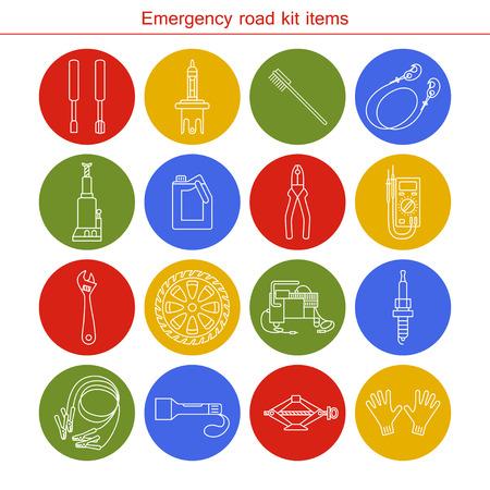 Emergency road kit items. Flat line icons set. Auto mechanic tools. Isolated background. Illustration