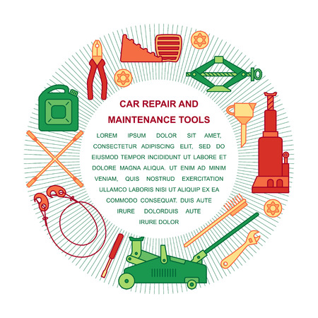 Collection of car repair and maintenance tools arranged in a circle. Place for your text. Flat style illustration isolated on background. Illustration