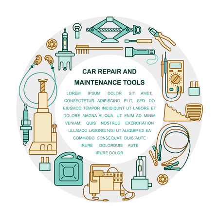 screw jack: Collection of car repair and maintenance tools arranged in a circle. Place for your text. Flat style illustration isolated on background. Illustration