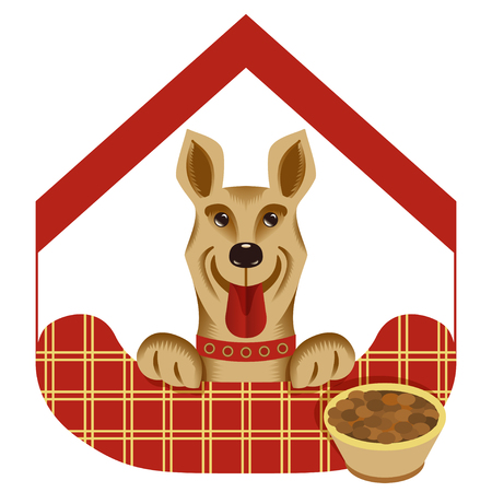 doghouse: Vector illustration  of house or hotel for dogs. Animal rights protection concept.  Isolated background.