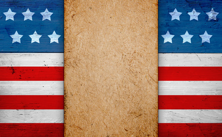 Patriotic american background with copy space, old paper over us flag, fourth of july