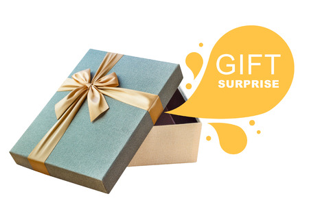 product box: Isolated open gift box, callout with text Gift Surprise