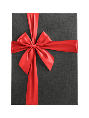 shiny day: Dark gray gift box with red ribbon isolated on white background, top view Stock Photo