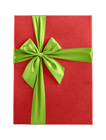 Red Christmas present with green ribbon isolated on white background
