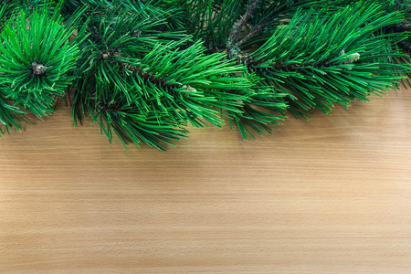 Pine tree branches over wooden background, top border with text area