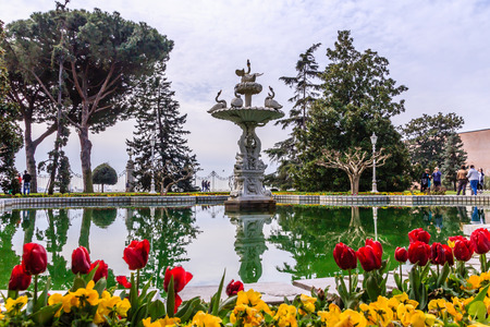 Swan fountain in gardens of Dolmabahce palace