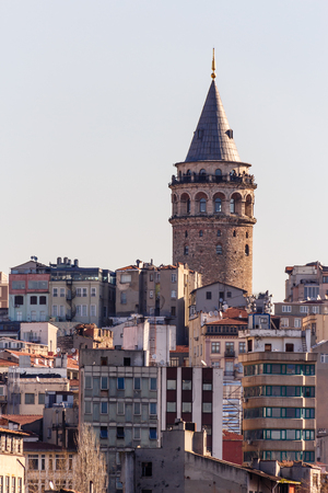 Galata Tower, a medieval stone tower in the GalataKaraköy quarter of Istanbul, Turkey. View from Bosphorus Sajtókép