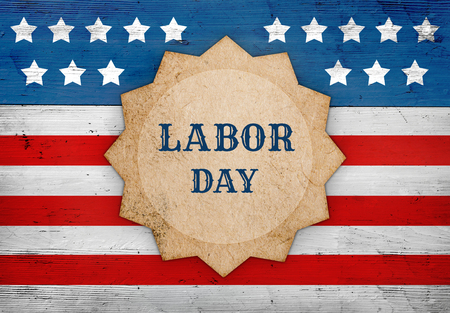 Labor Day patriotic background, star shape with text on the US flag, banner design