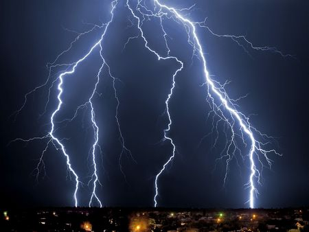 Lightning blue, bolt, bright, charge, cloud, Stock Photo - 4389369