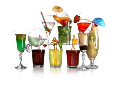 Eleven coloured cocktails on a white background.