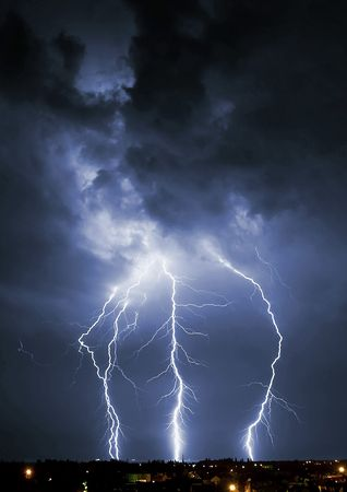 forked: Lightening over the landscape in the summer night.