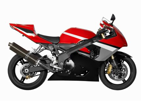 Red sporting motorcycle in a white background