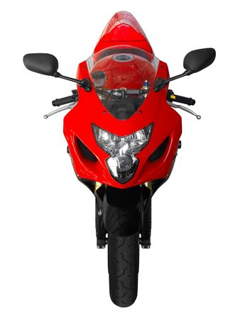 'cycles: Red sporting motorcycle in a white background