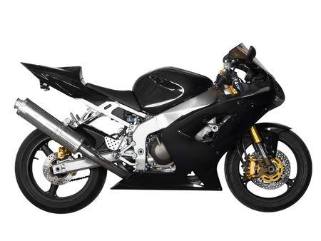 Schwarz Sport-Motorrad in einem weißen Hintergrund