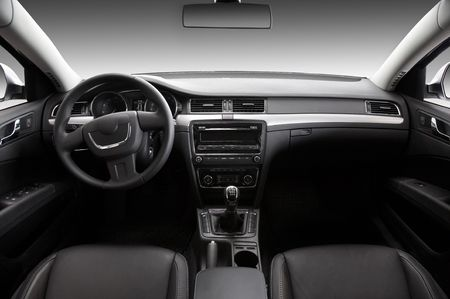 View of the interior of a modern automobile showing the dashboard Stock Photo
