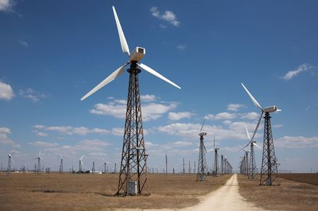 windfarm: Molinos de viento en el Parque e�lico  Foto de archivo