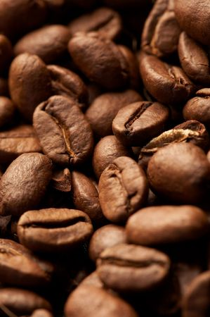 Coffe beans background, macro closeup Stock Photo
