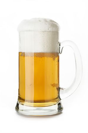 beerglass: mug of beer close-up in white background